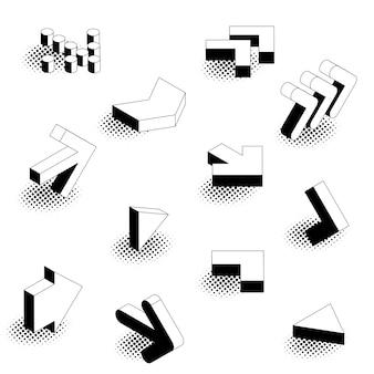 Set di icone freccia isometrica stile fumetto retrò design piatto.