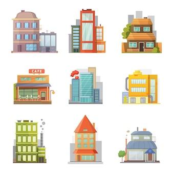 Design piatto di case di città retrò e moderne