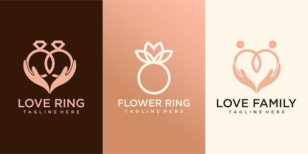 Collezione logo anello design piatto. modello di logo per azienda vettore premium