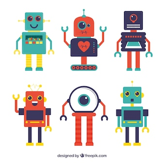 Collezione di personaggi robot di design piatto