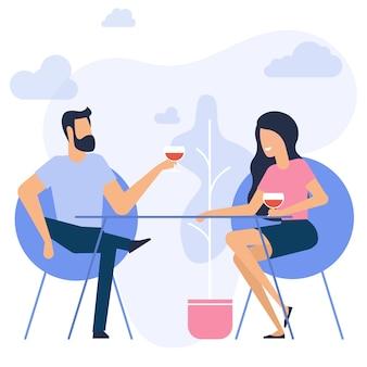 Design piatto di appuntamento romantico uomo e donna seduti al ristorante a bere vino