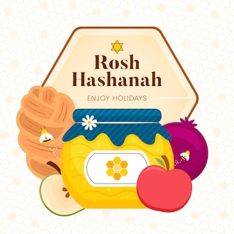 Design piatto rosh hashanah design Vettore Premium