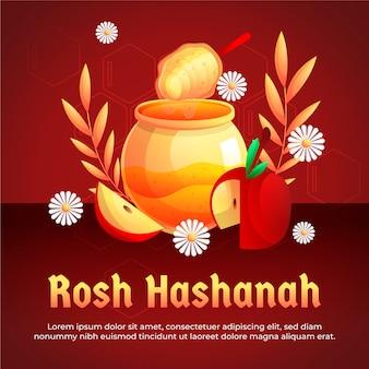 Design piatto rosh hashanah con miele