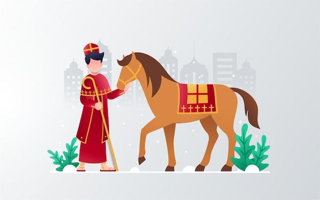 Design piatto giorno di san nicola con il cavallo