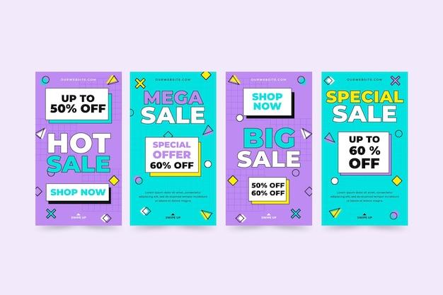 Collezione di storie di vendita di design piatto ig