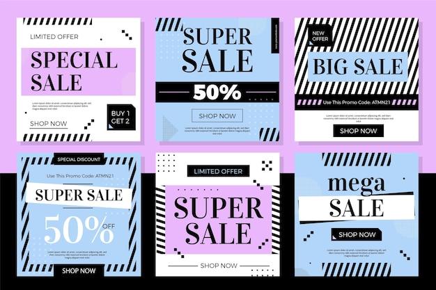 Collezione di post di instagram di vendita di design piatto