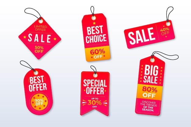 Collezione di tag vendita design piatto Vettore Premium