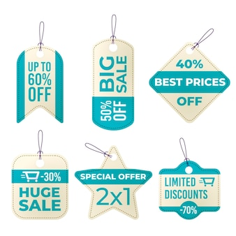 Pack di tag di vendita design piatto