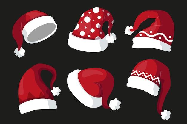 Collezione di cappelli di babbo natale design piatto