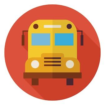 Scuola di design piatto e autobus educativo. torna a scuola e istruzione illustrazione vettoriale. stile piatto colorato scuolabus cerchio icona con una lunga ombra. oggetto di trasporto.