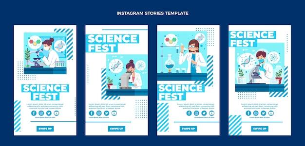 Storie di instagram di scienza del design piatto
