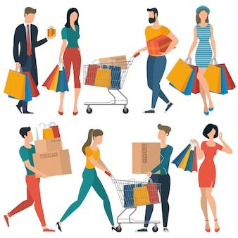 Gente di acquisto design piatto che spende il concetto di consumismo del cliente