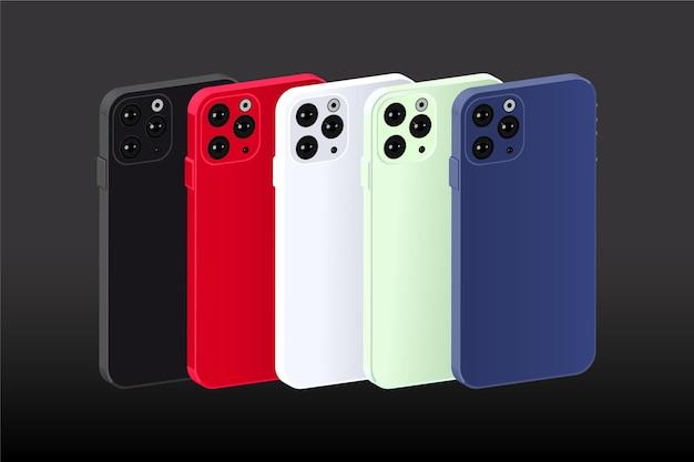 Smartphone design piatto in diversi colori impostati