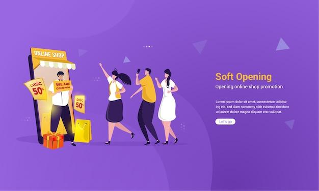 Design piatto del concetto di negozio online di apertura morbida