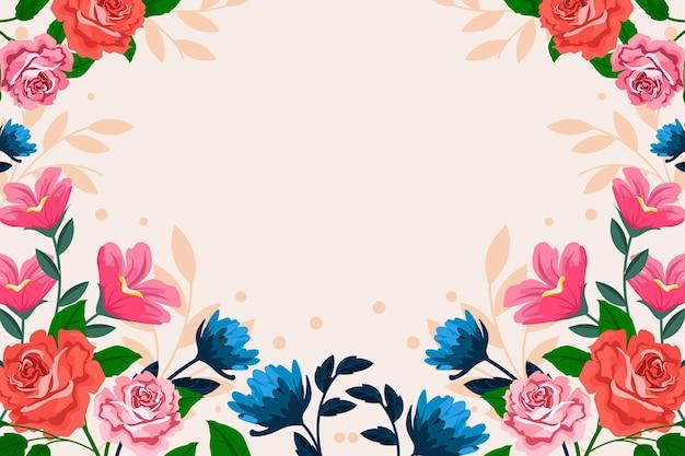 Sfondo di primavera design piatto con fiori