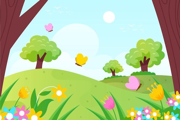 Paesaggio di primavera design piatto con foresta