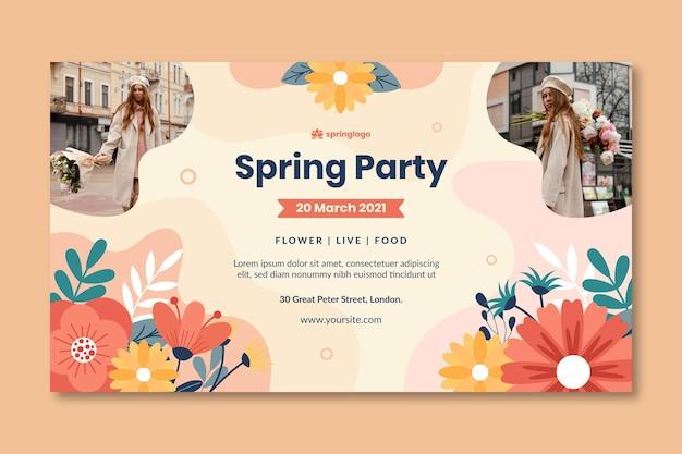Modello di banner primavera e modello design piatto