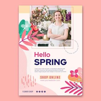 Modello di poster di primavera design piatto