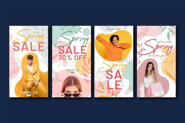 Storie di instagram di vendita primavera design piatto