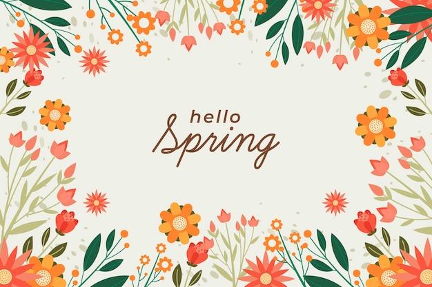 Carta da parati primavera design piatto con fiori