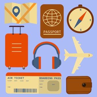 Design piatto stile moderno illustrazione vettoriale icone set di viaggio in aereo.isolato su sfondo elegante. illustrazione vettoriale