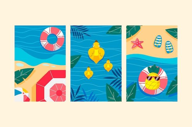 Collezione di carte estive dal design piatto Vettore Premium