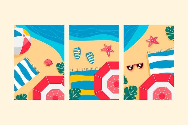 Collezione di carte estive dal design piatto