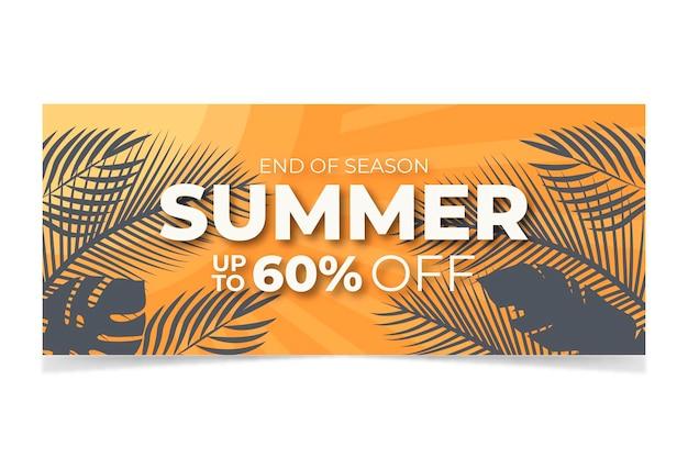 Banner di vendita estiva di design piatto, post sui social media, buono sconto