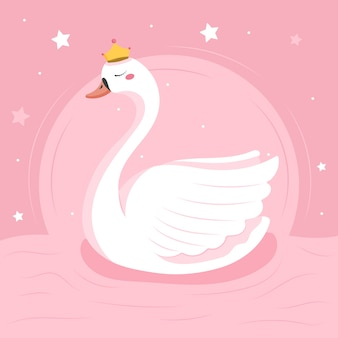 Illustrazione di principessa cigno design piatto Vettore Premium
