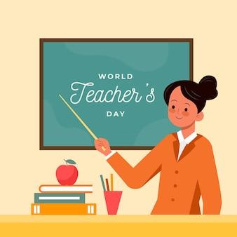 Giornata degli insegnanti di design piatto con donna e lavagna