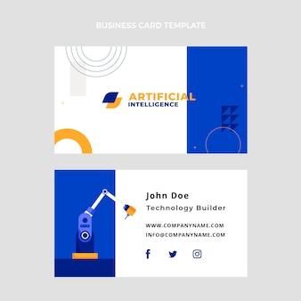 Biglietto da visita orizzontale con tecnologia di design piatto