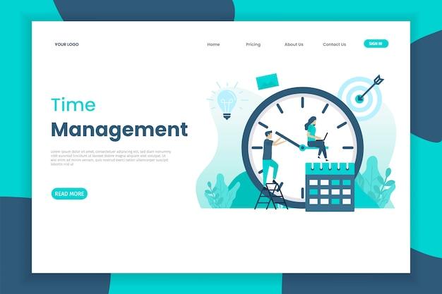 Modello di design piatto di una landing page di gestione del tempo con carattere di persone