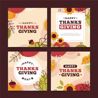 Collezione di post di instagram di ringraziamento design piatto