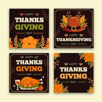 Post di instagram di ringraziamento design piatto