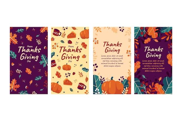 Collezione di storie di instagram di ringraziamento design piatto