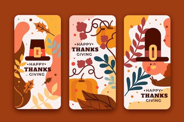 Storie di instagram di ringraziamento design piatto