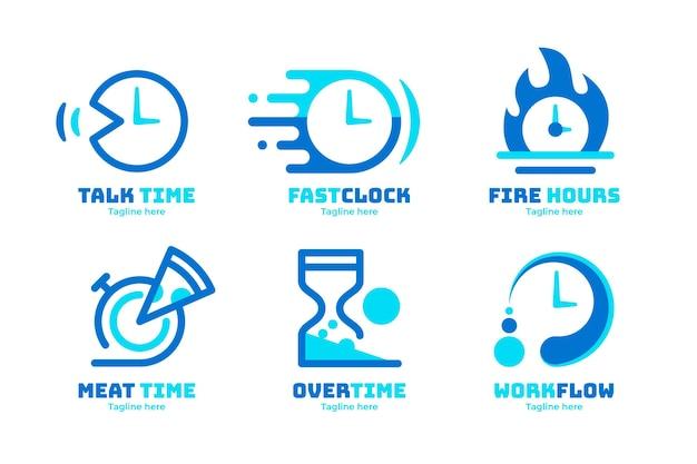 Pacchetto loghi tempo design piatto