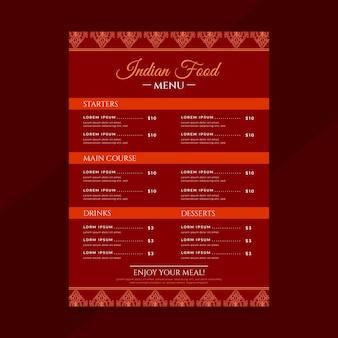 Modello di menu ristorante indiano tradizionale design piatto