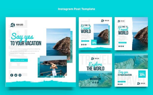 Post di viaggio design piatto ig post