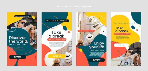 Design piatto di storie di viaggio ig