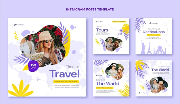 Modello di post instagram di viaggio design piatto