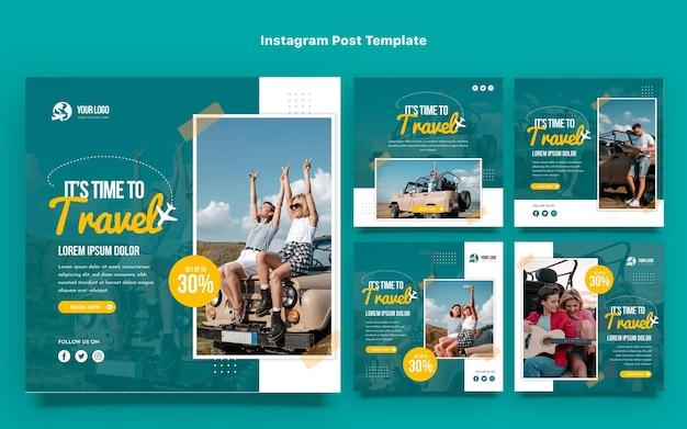 Design piatto del post di instagram di viaggio