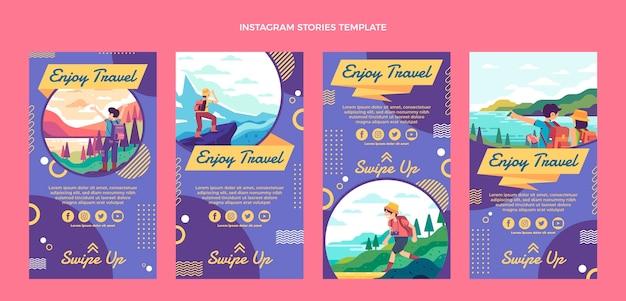 Storie di instagram di viaggio dal design piatto