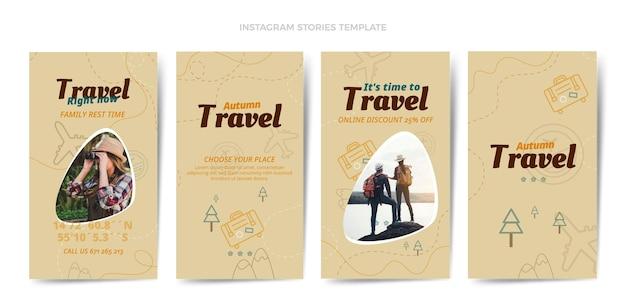 Pacchetto di storie di instagram di viaggio dal design piatto