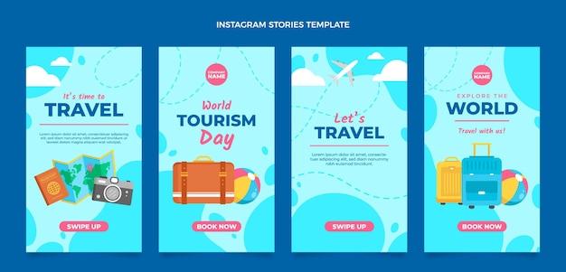 Set di storie instagram di viaggio design piatto