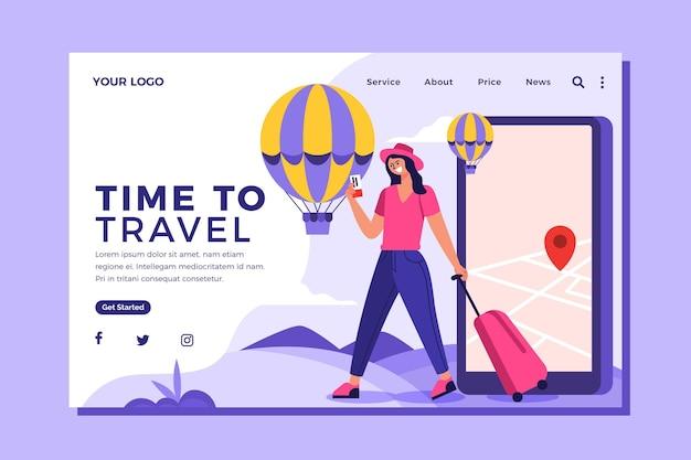 Pagina di destinazione di viaggio dal design piatto
