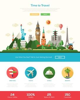 Banner di intestazione del sito web di viaggio design piatto