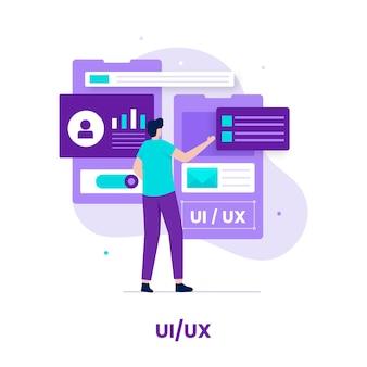 Design piatto del concetto di design ui ux. illustrazione per siti web, landing page, applicazioni mobili, poster e banner