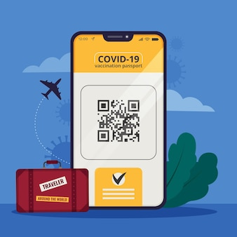 Passaporto di vaccinazione dal design piatto per viaggiare