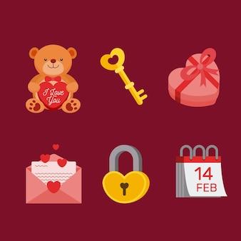 Collezione di elementi di san valentino design piatto Vettore Premium